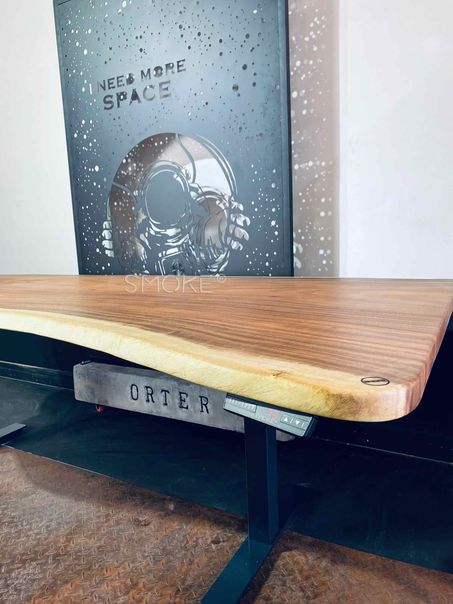 solid wood work desk live edge hydraulic table