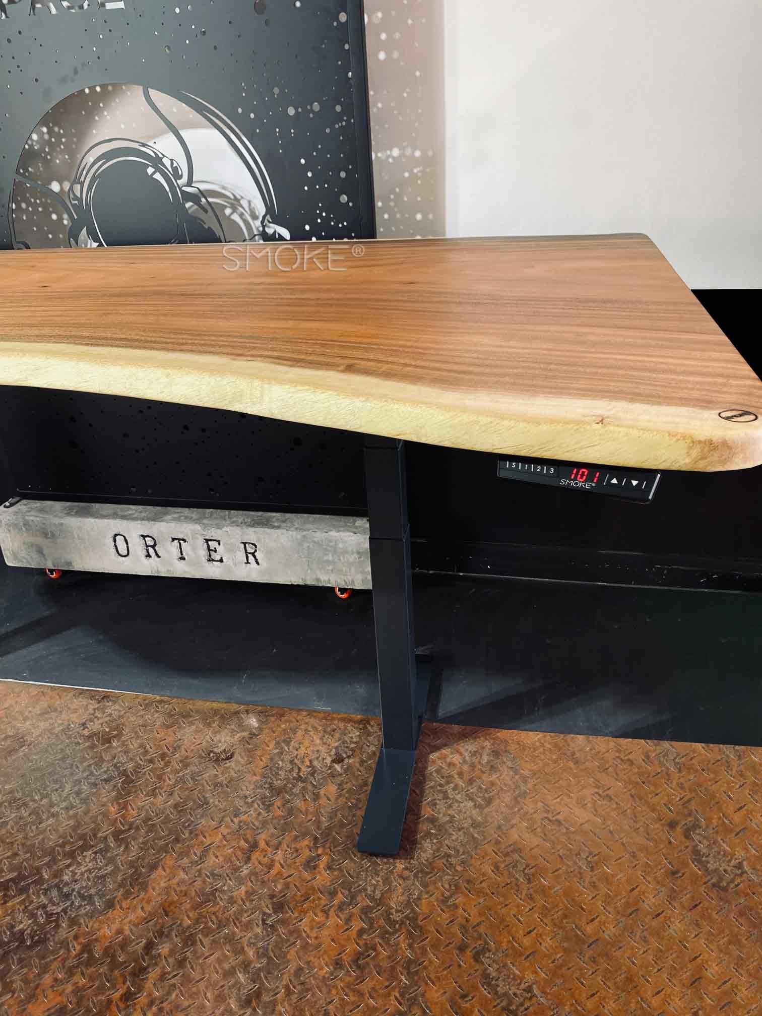 hydraulic study table live edge suar wood