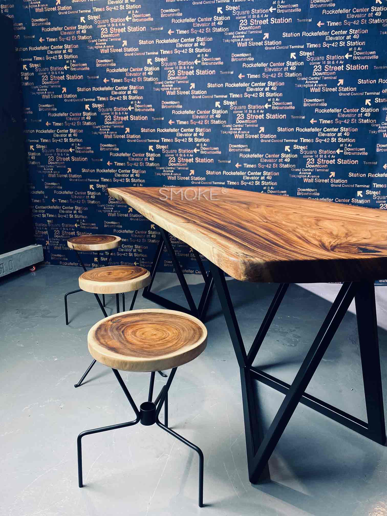 wooden live edge dining table