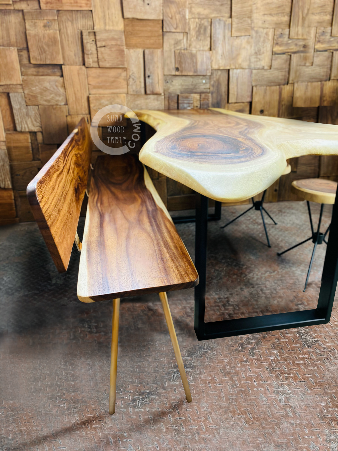 live edge wooden dining table