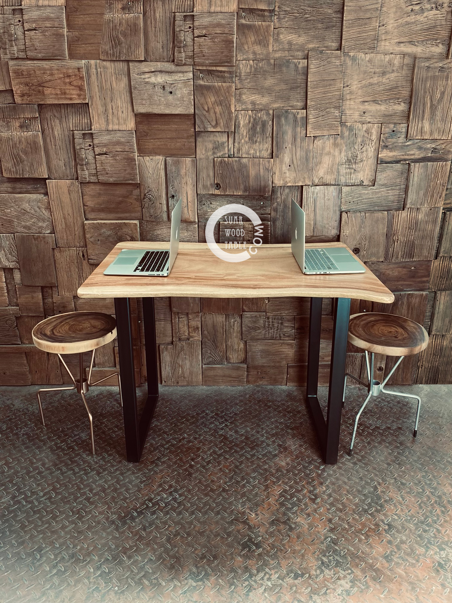 work desk with stools