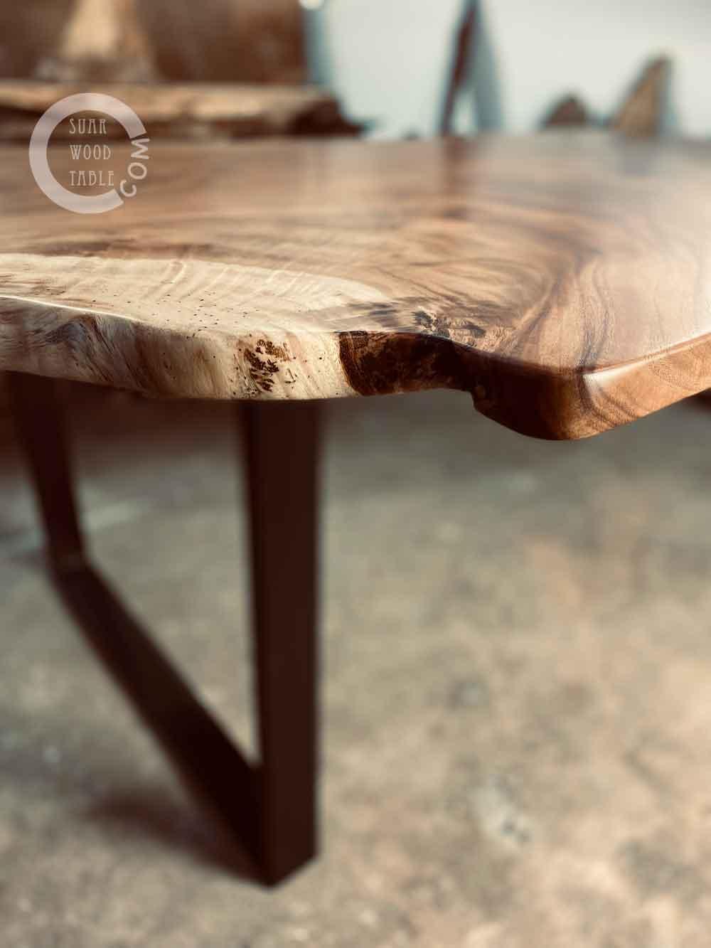 self-made wood table
