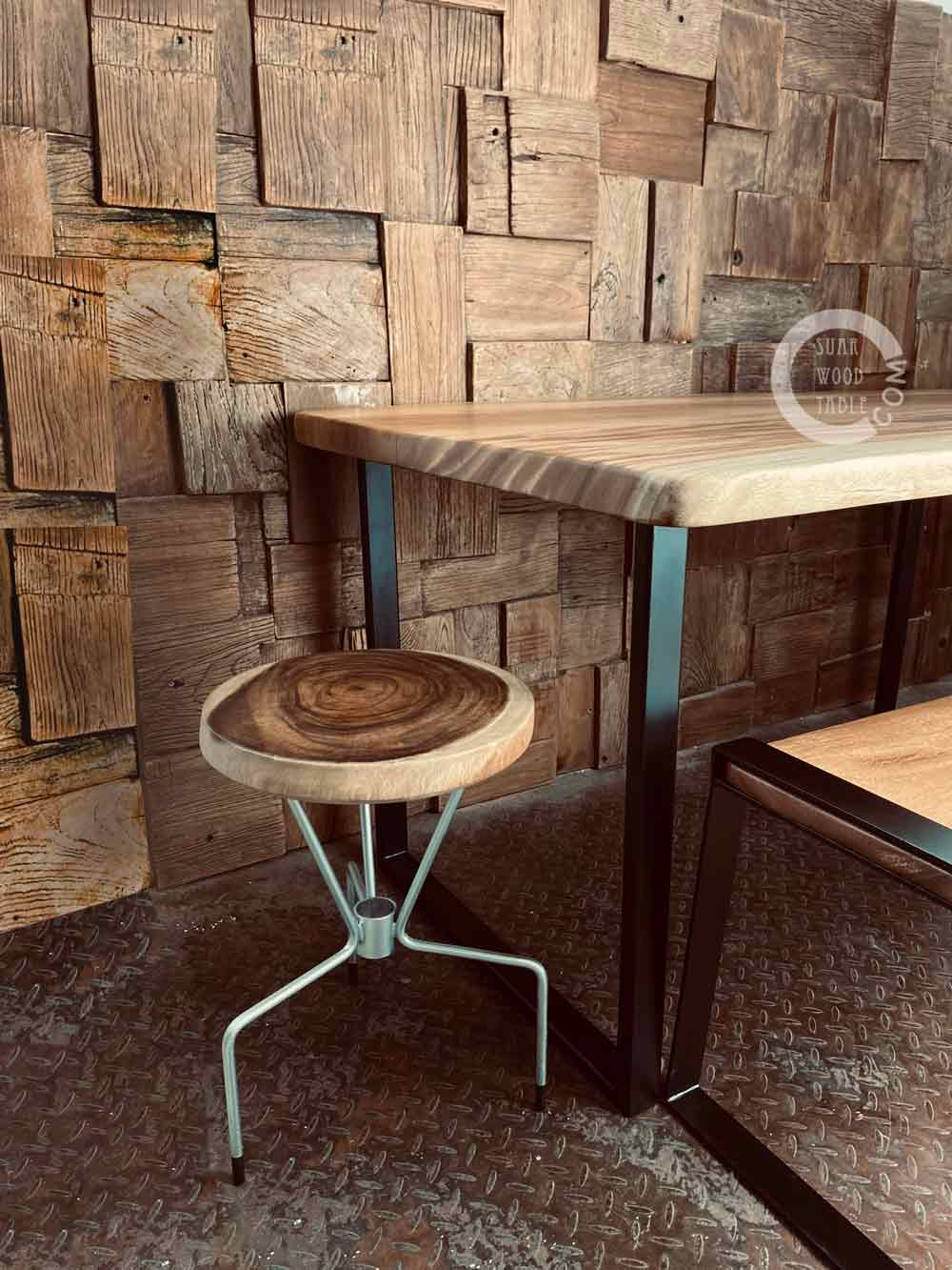 wooden dining table with wooden stool