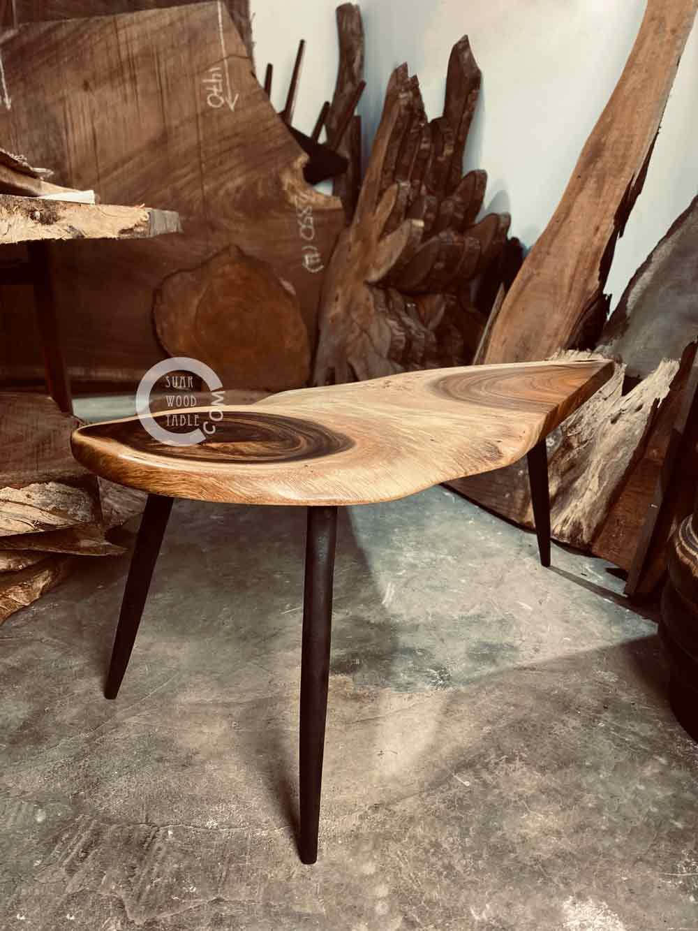 suar wood coffee table with charred leg