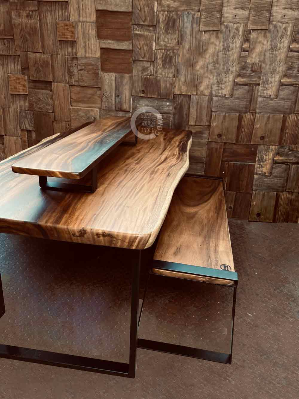 solid wood bench with suar wood table