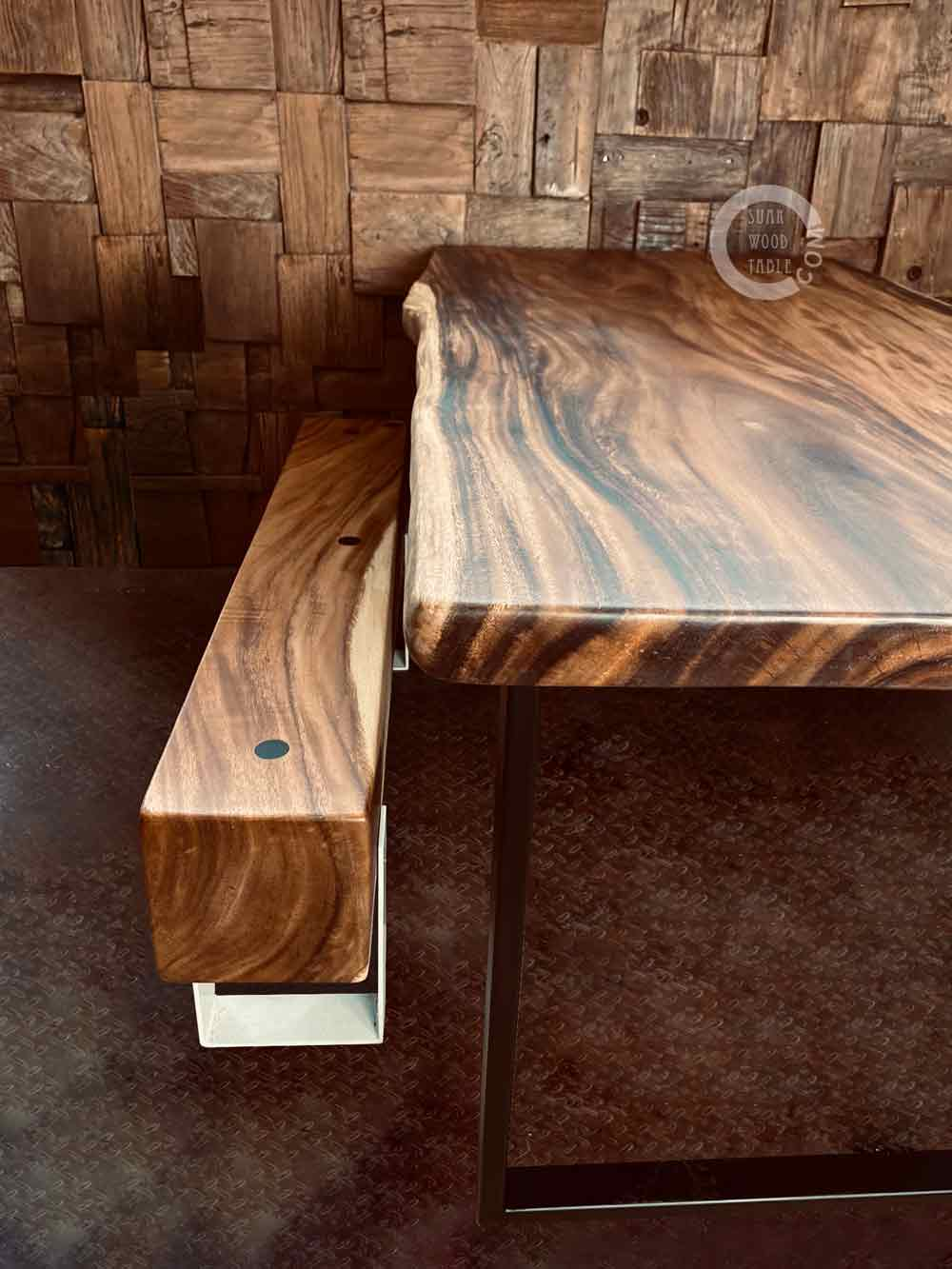 logan bench with live edge table