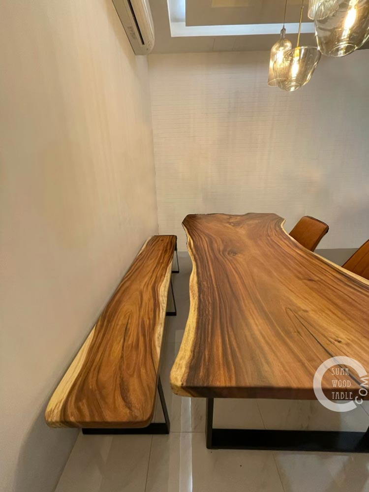 suarwood bench with dining table